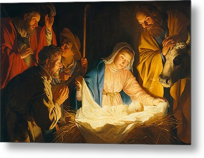 The Adoration Of The Shepherds Metal Print by Gerrit van Honthorst