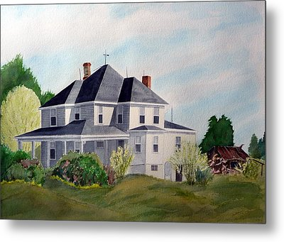 Metal Print featuring the painting The Adrian Shuford House - Spring 2000 by Joel Deutsch