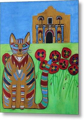 the Alamo Cat Metal Print