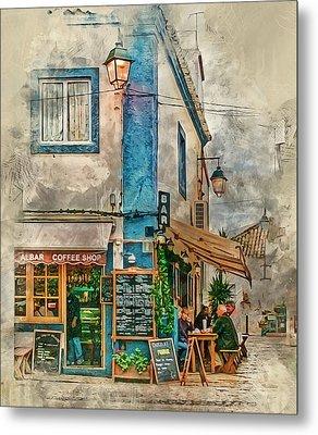 The Albar Coffee Shop In Alvor. Metal Print by Brian Tarr