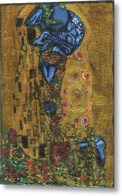 The Alien Kiss By Blastoff Klimt Metal Print by Similar Alien