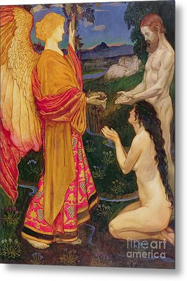 The Angel Offering The Fruits Of The Garden Of Eden To Adam And Eve Metal Print