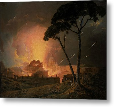 The Annual Girandola At The Castel Sant'angelo, Rome Metal Print by Joseph Wright