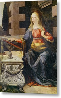 The Annunciation   Detail Of The Virgin Metal Print