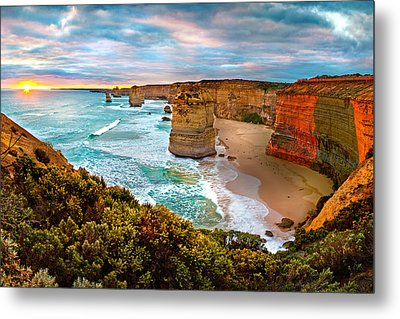 The Apostles Sunset Metal Print