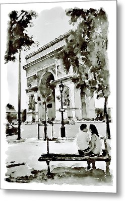 The Arc De Triomphe Paris Black And White Metal Print