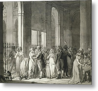 The Arcades At The Palais Royal Metal Print by Louis Leopold Boilly