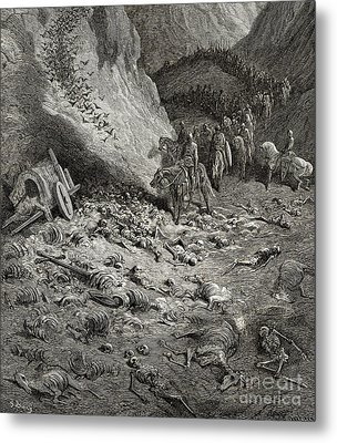 The Army Of The Second Crusade Find The Remains Of The Soldiers Of The First Crusade Metal Print by Gustave Dore