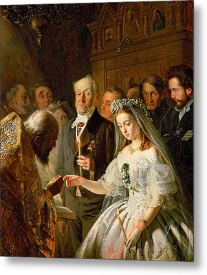 The Arranged Marriage, 1862 Metal Print by Vasili Vladimirovits Pukirev
