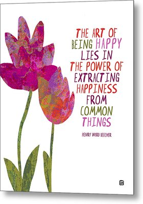 Metal Print featuring the painting The Art Of Being Happy by Lisa Weedn