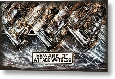 The Attack Waitress  Metal Print by Joan  Minchak