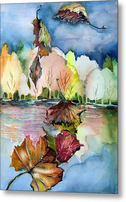 The Autumn Leaves Drift By My Window Metal Print