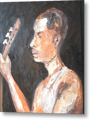 Metal Print featuring the painting The Baglama Player by Esther Newman-Cohen