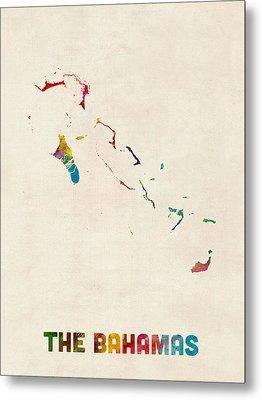 The Bahamas Watercolor Map Metal Print by Michael Tompsett