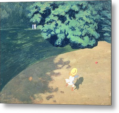 The Balloon Or Corner Of A Park With A Child Playing With A Balloon Metal Print by Felix Edouard Vallotton