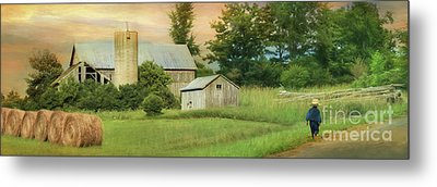 The Barefoot Farm Boy Metal Print by Lori Deiter
