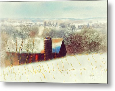 The Barn Over The Hill Metal Print by Lois Bryan