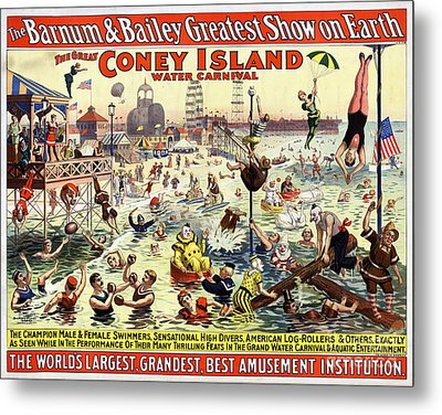 The Barnum And Bailey Greatest Show On Earth The Great Coney Island Water Carnival Metal Print by Carsten Reisinger