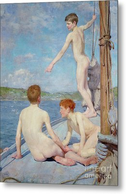 The Bathers, 1889 Metal Print by Henry Scott Tuke