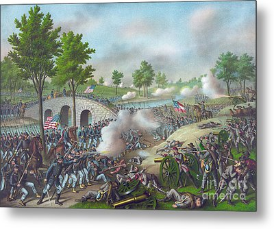 The Battle Of Antietam Metal Print by American School