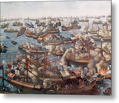 The Battle Of Lepanto, The Fleet Metal Print by Everett