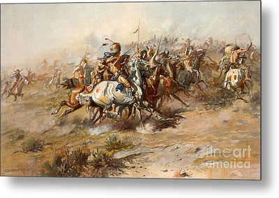 The Battle Of Little Bighorn Metal Print by Charles Marion Russell