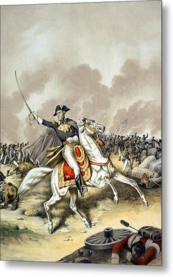 The Battle Of New Orleans With President Andrew Jackson Standing At The Front Of The American Flag W Metal Print by American School