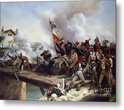 The Battle Of Pont D'arcole Metal Print by Emile Jean Horace Vernet