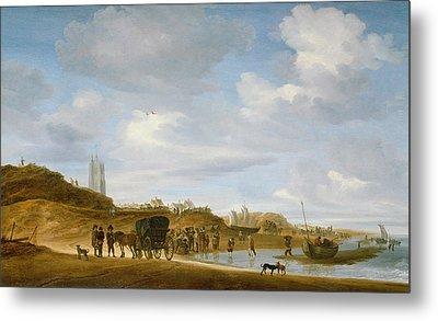The Beach At Egmond An Zee Metal Print by Salomon van Ruysdael