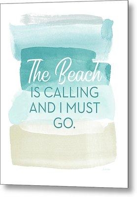 The Beach Is Calling- Art By Linda Woods Metal Print