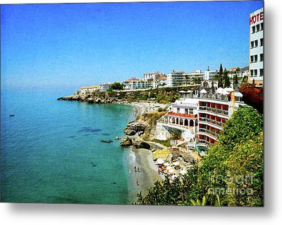 Metal Print featuring the photograph The Beach - Nerja Spain by Mary Machare