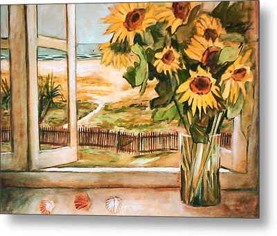 The Beach Sunflowers Metal Print
