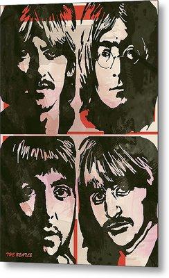The Beatles Pop Stylised Art Sketch Poster Metal Print by Kim Wang