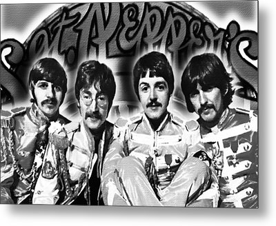 The Beatles Sgt. Pepper's Lonely Hearts Club Band Painting And Logo 1967 Black And White Metal Print