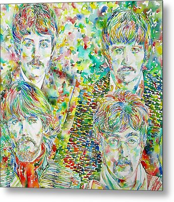 The Beatles - Watercolor Portrait.1 Metal Print by Fabrizio Cassetta