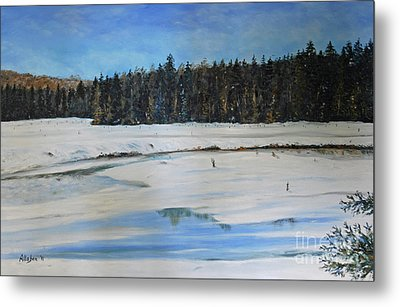 The Beaver Pond In Winter Metal Print by Stanton Allaben