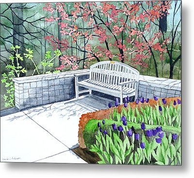 The Bench Awaits - Mill Creek Park Metal Print