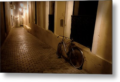 Metal Print featuring the photograph The Bicycle And The Brick Road by DigiArt Diaries by Vicky B Fuller