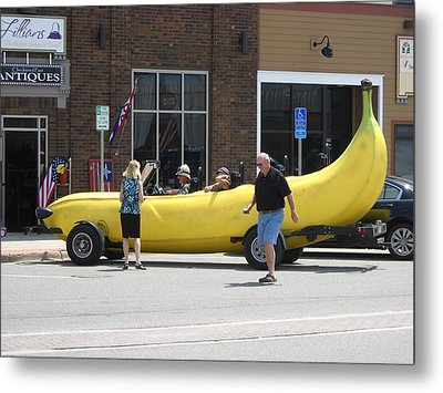 The Big Banana Car Stops By Metal Print