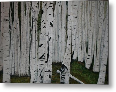Metal Print featuring the painting The Birches.. by Betty-Anne McDonald