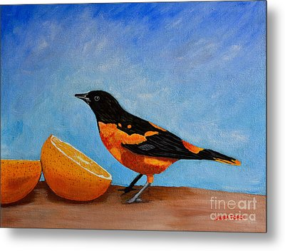 The Bird And Orange Metal Print by Laura Forde