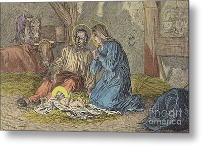 The Birth Of Jesus Christ  Metal Print by French School
