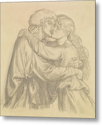 The Blessed Damozel - Study Of Two Lovers Embracing Metal Print