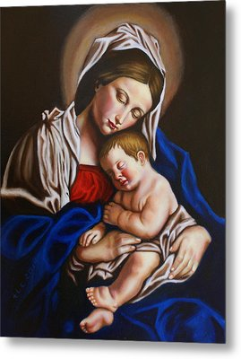 The Blessed Mother And The Infant Jesus Metal Print