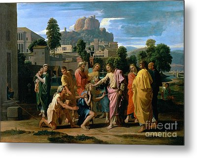 The Blind Of Jericho Metal Print by Nicolas Poussin