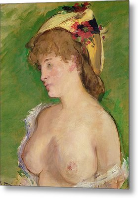 The Blonde With Bare Breasts Metal Print by Edouard Manet