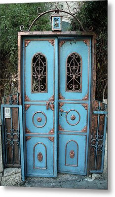 The Blue And Gold Door Of Jerusalem Metal Print by Yoel Koskas