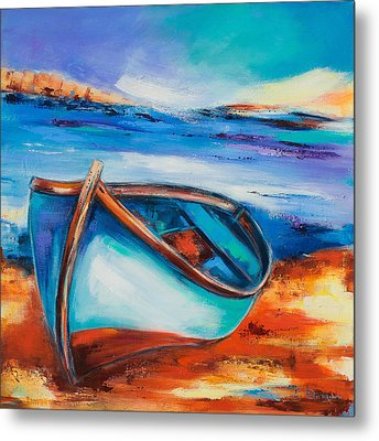 Metal Print featuring the painting The Blue Boat by Elise Palmigiani
