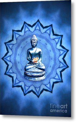 The Blue Buddha Meditation Metal Print