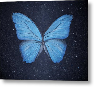 Metal Print featuring the painting The Blue Butterfly by Edwin Alverio